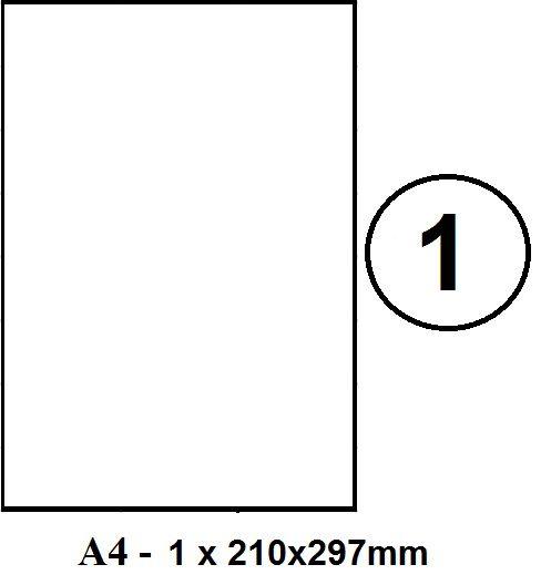 Etikety samolepící A4 210 x 297mm - 1ks arch