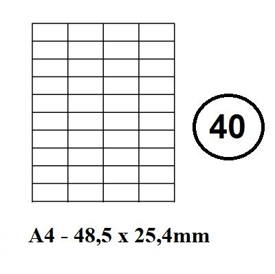 Etikety samolepící A4 - 48,5 x 25,4mm - 40ks arch