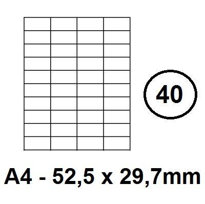 Etikety samolepící A4 - 52,5 x 29,7mm - 40ks arch