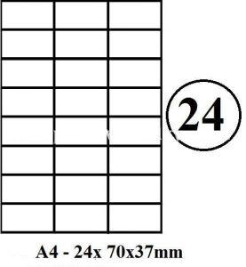Etikety samolepící A4 70 x 36mm - 24ks