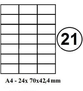 Etikety samolepící A4 70 x 42,4mm - 21ks