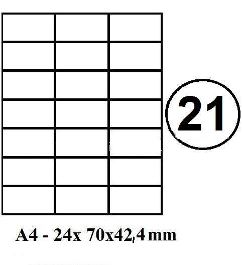 Etikety samolepící A4 70 x 42,4mm - 21ks arch