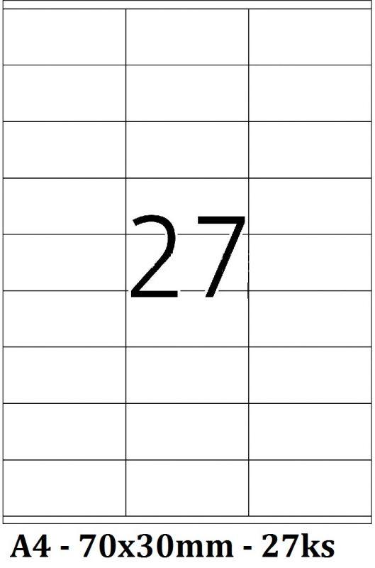 Etikety samolepící A4 - 70x30mm - 27ks arch