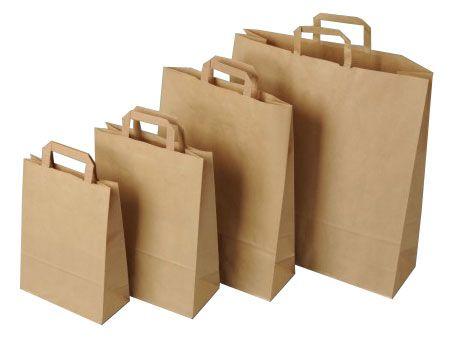 Papírová taška 17,5x9x23cm - přírodní, hnědá, plochá ucha