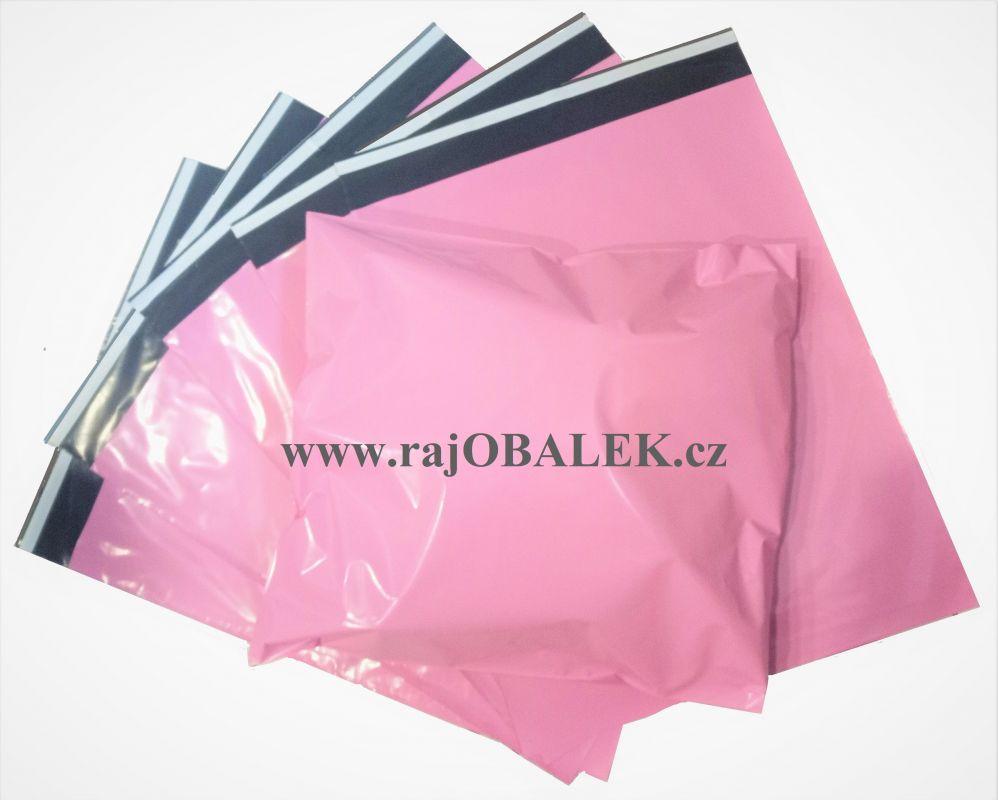 Růžové plastové obálky světlé 35x45cm
