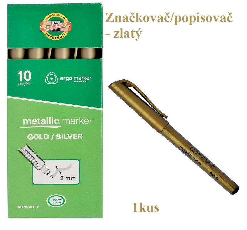Značkovač/popisovač metalický zlatý Koh-i-noor 3402
